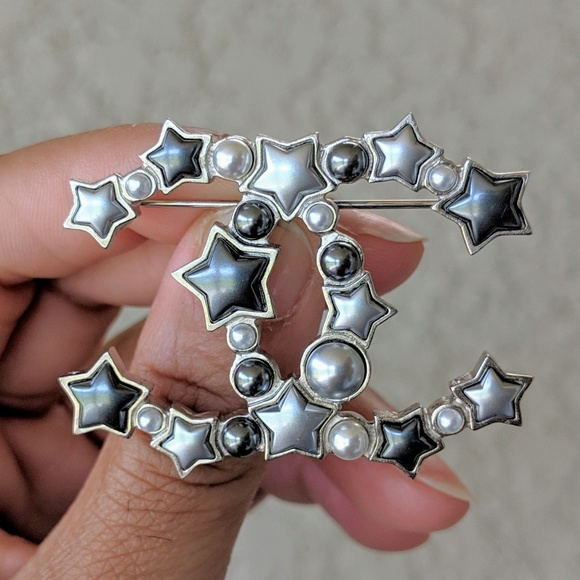 70e419374c0 CHANEL Jewelry | Silver Star Resin Pearl Large Cc Brooch | Poshmark